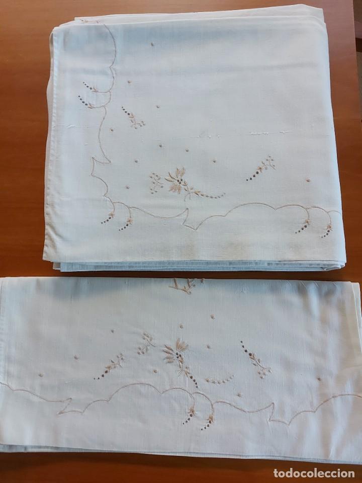 Antigüedades: Juego de sábanas bordadas - Foto 2 - 268749974