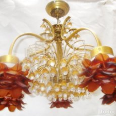Antigüedades: SUPER LAMPARA CRISTAL DE MURANO FLORES MIEL VINTAGE MID-CENTURY , PAREJA A JUEGO DISPONIBLE. Lote 268779514