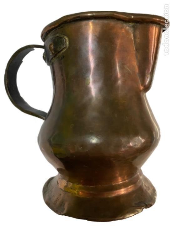 Antigüedades: Antiquísima jarra de cobre,S.XIX, nombre grabado de Francisca Sauque, preciosa y única, de colección - Foto 2 - 268779734