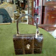 Antigüedades: ANTIGUO BOLSO EN PIEL VINTAGE REF-098. Lote 268810579