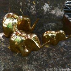 Antigüedades: CONJUNTO DE 3 ELEFANTES DE BRONCE, DORADO. Lote 268860269
