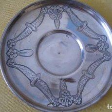 Antigüedades: ANTIGUO PLATO MODERNISTA BAÑADO EN PLATA 17 CMTS. Lote 268865459