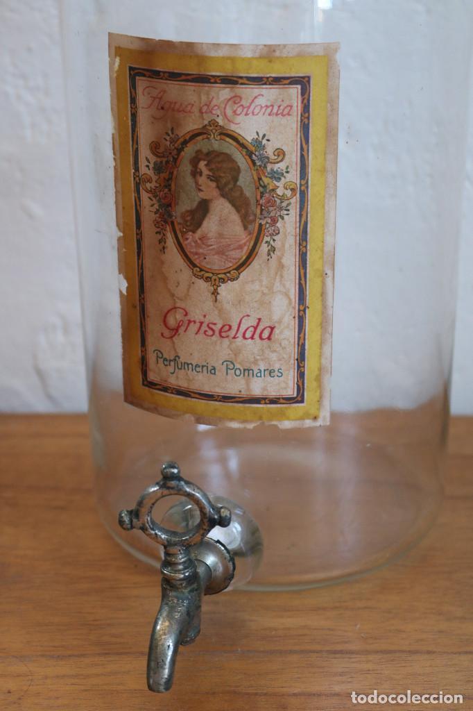 FRASCO DE COLONIA PERFUME - AGUA COLONIA GRISELDA - DISPENSADOR DE CRISTAL CON GRIFO ORIGINAL (Antigüedades - Cristal y Vidrio - Farmacia )