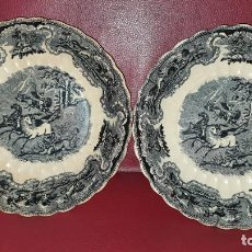 Antigüedades: ANTIGUAS FUENTES DE PORCELANA DE LA FÁBRICA LA AMISTAD DE CARTAGENA CON BONITOS MOTIVOS DE CAZA.. Lote 268898119