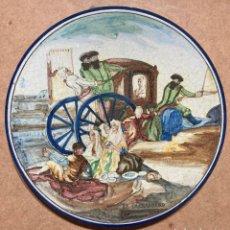 Antigüedades: PLATO DE TRIANA CON MOTIVO GOYESCO. Lote 268904179