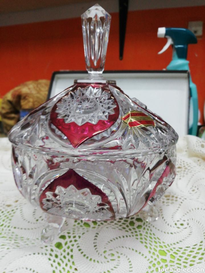 IMPRESIONANTE BOMBONERA O CARAMELERA (Antigüedades - Cristal y Vidrio - Bohemia)