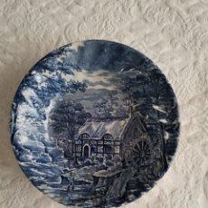 Antigüedades: CUENCO DE PORCELANA INGLESA DE COLOR AZUL, MARCADO AL DORSO. Lote 268960774