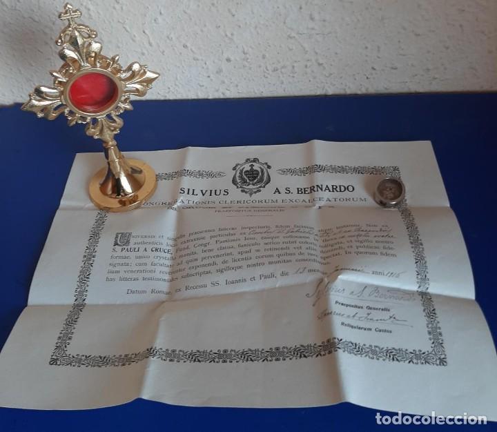 (ANT-210605)RELICARIO SAN GABRIEL CERTIFICADO AÑO 1916 SELLADO CON LACRE (Antigüedades - Religiosas - Relicarios y Custodias)