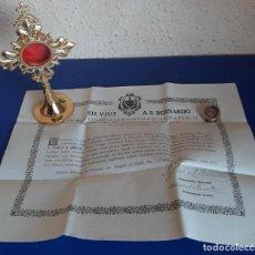 Antigüedades: (ANT-210605)RELICARIO SAN GABRIEL CERTIFICADO AÑO 1916 SELLADO CON LACRE. Lote 268961749