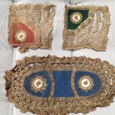 Antigüedades: TRES PASOS DECORATIVOS CON PASAMANERIA DORADA. S XX. Lote 268983284