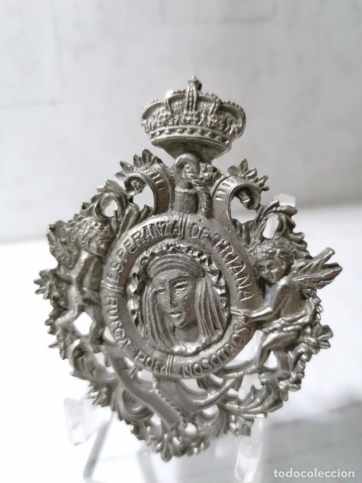MEDALLA METAL, ESPERANZA DE TRIANA, RUEGA POR NOSOTROS, CORONACION CANONICA, JUNIO DE 1984 (Antigüedades - Religiosas - Benditeras)