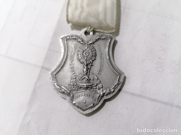 MEDALLA JUEVES EUCARISTICOS 1907, REPARACION, CONMEMORACION, REVERSO ULTIMA CENA, MEDIDAS 7,5 X 4 CM (Antigüedades - Religiosas - Medallas Antiguas)