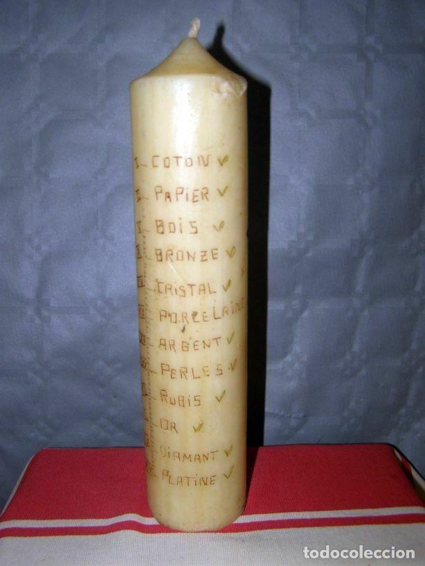 Antigüedades: Ancien cierge avec incrustation du calendrier des noces début XXè Hauteur 27cm - Foto 2 - 269058588