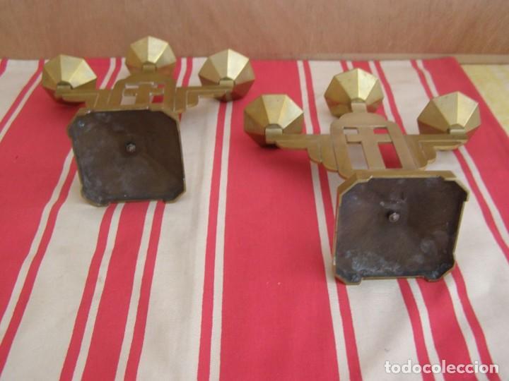 Antigüedades: 2 anciens chandeliers en laiton (3 branches) hauteur 24,5cm - Foto 3 - 269058933