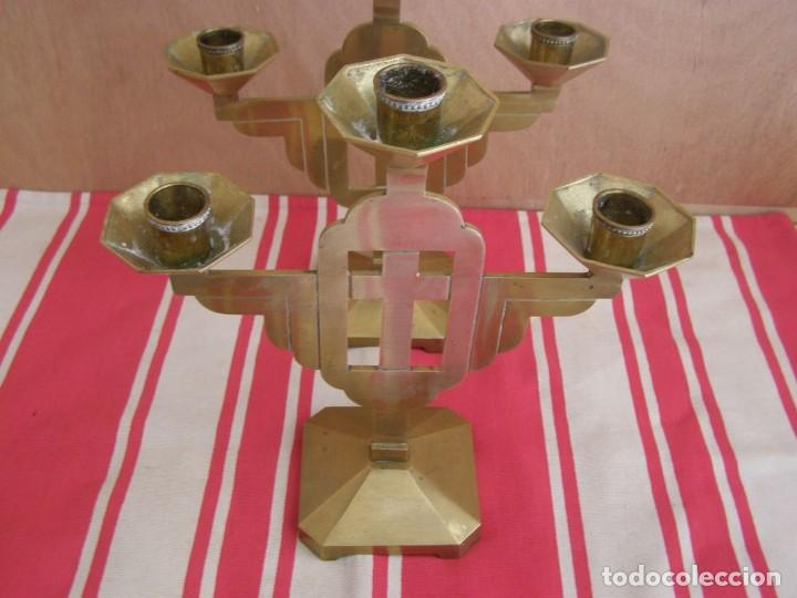 Antigüedades: 2 anciens chandeliers en laiton (3 branches) hauteur 24,5cm - Foto 2 - 269058933