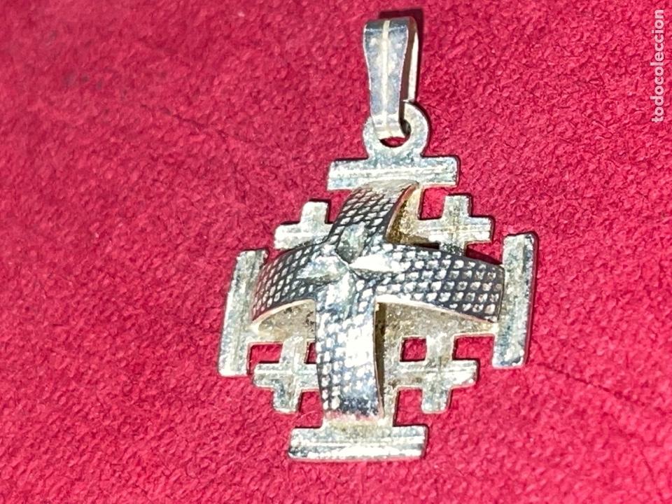 Antigüedades: Bonita cruz de plata de Jerusalen. Plata contrastada - Foto 2 - 269059308