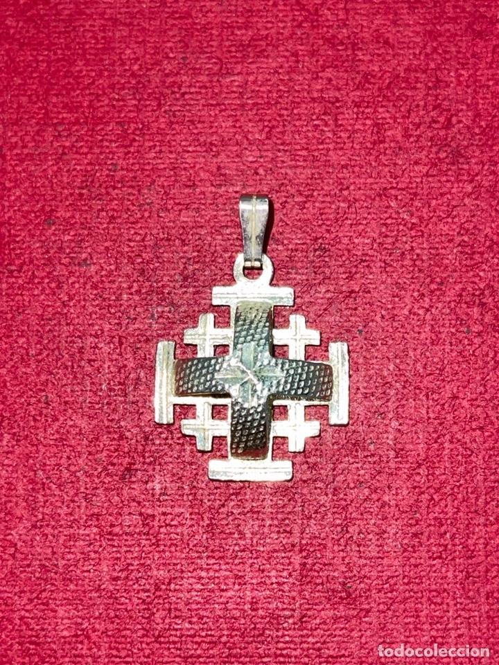 Antigüedades: Bonita cruz de plata de Jerusalen. Plata contrastada - Foto 3 - 269059308