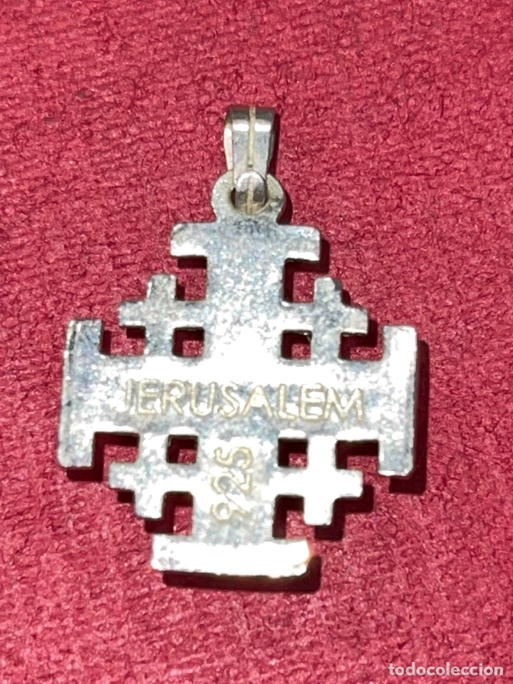 Antigüedades: Bonita cruz de plata de Jerusalen. Plata contrastada - Foto 4 - 269059308