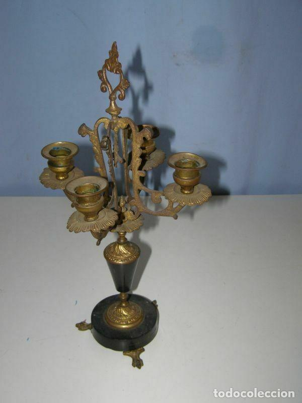 Antigüedades: Ancien chandelier en laiton, 4 branches hauteur 37 cm - Foto 2 - 269062553