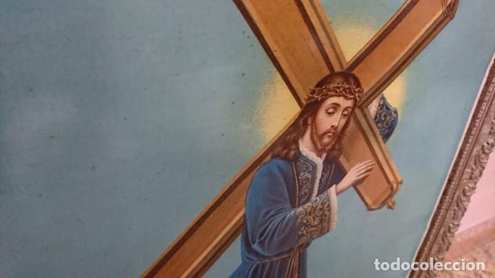 Antigüedades: ANTIGUA LÁMINA RELIGIOSA ENMARCADA, SIN CRISTAL - Foto 2 - 269069248