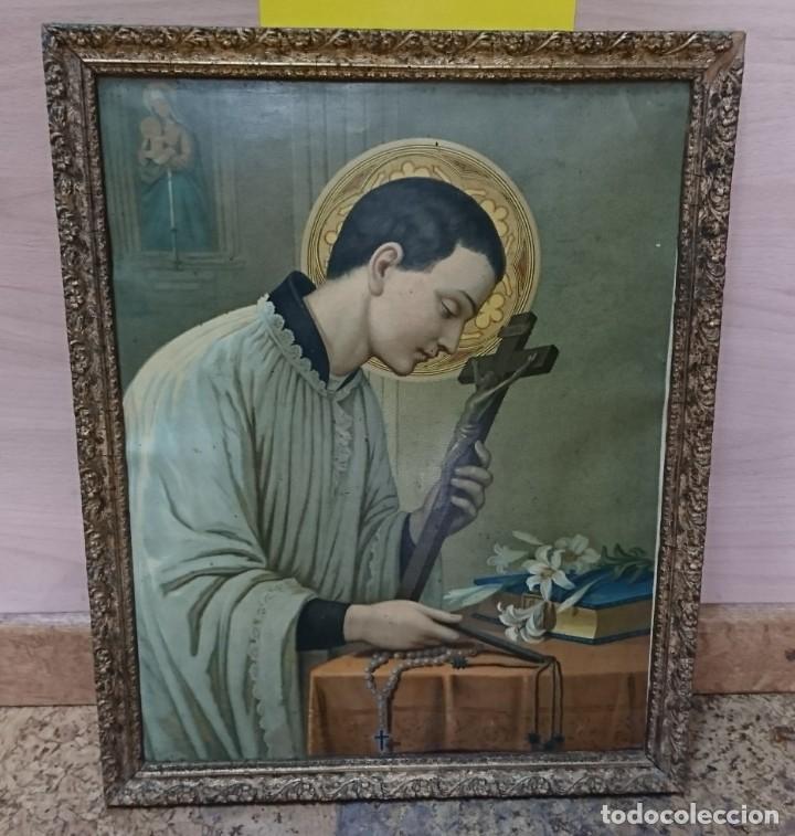 ANTIGUA LÁMINA RELIGIOSA ENMARCADA, SIN CRISTAL (Antigüedades - Religiosas - Varios)