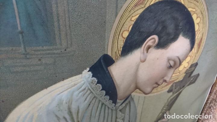Antigüedades: ANTIGUA LÁMINA RELIGIOSA ENMARCADA, SIN CRISTAL - Foto 2 - 269069428