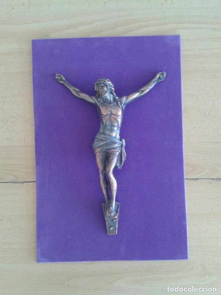 ANTIGUO CRISTO CRUCIFICADO COBRE JESUCRISTO (Antigüedades - Religiosas - Crucifijos Antiguos)