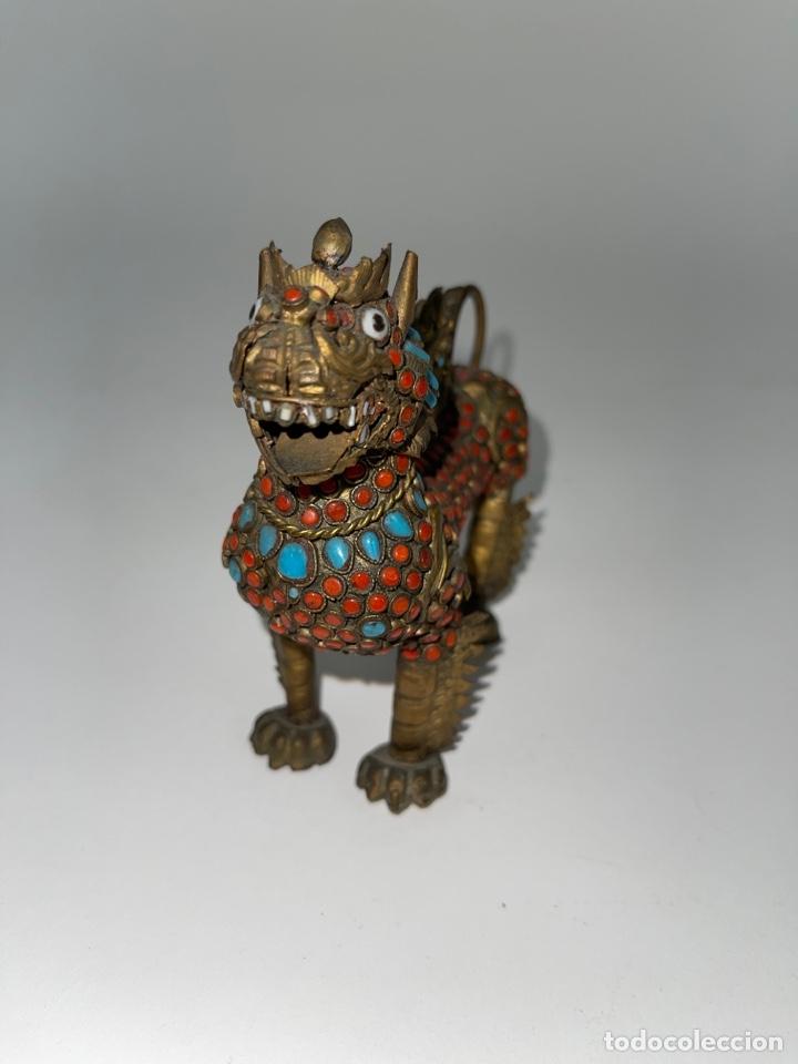 Antigüedades: CAJA ORIENTAL EN FORMA DE FELINO. MEDIADOS S.XX. - Foto 3 - 269110148