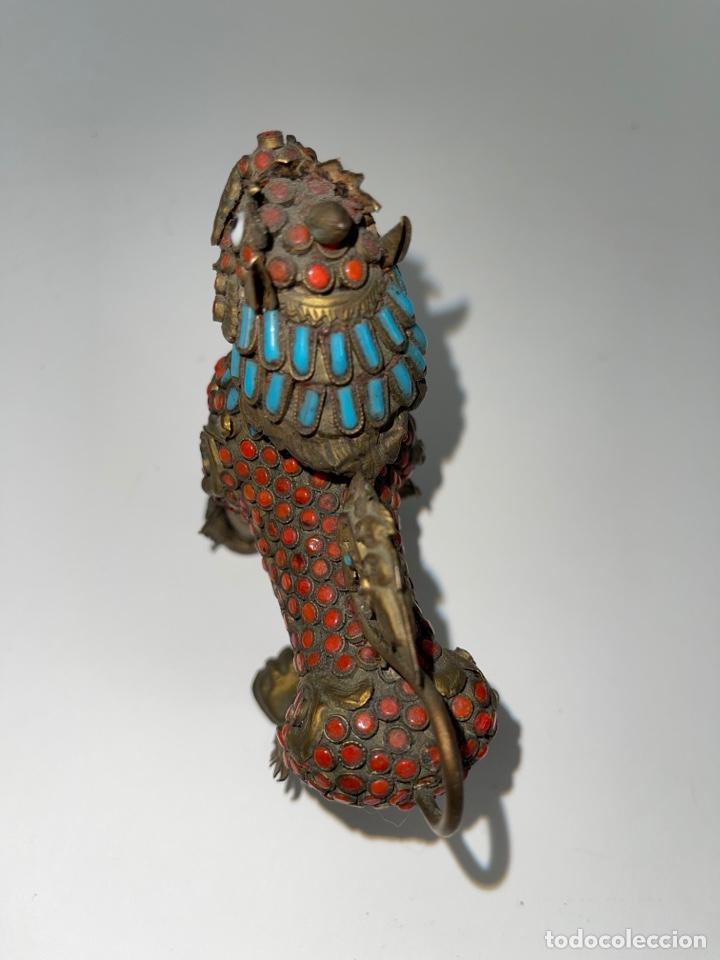 Antigüedades: CAJA ORIENTAL EN FORMA DE FELINO. MEDIADOS S.XX. - Foto 5 - 269110148