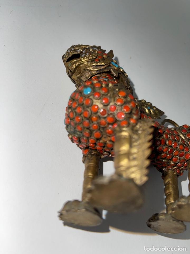 Antigüedades: CAJA ORIENTAL EN FORMA DE FELINO. MEDIADOS S.XX. - Foto 7 - 269110148