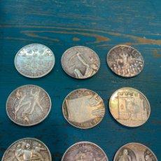 Antigüedades: LOTE DE 9 MONEDAS DE PLATA DE LA HISTORIA DE CRISTOBAL COLÓN. Lote 269125988