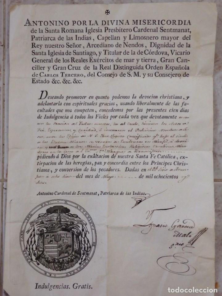 INDULGENCIA. AÑO 1802. POR ANTONIO, CARDENAL DE SENTMANAT, PATRIARCA DE LAS IDIAS. MIDE 30 X 21 CM. (Antigüedades - Religiosas - Varios)