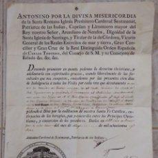 Antigüedades: INDULGENCIA. AÑO 1802. POR ANTONIO, CARDENAL DE SENTMANAT, PATRIARCA DE LAS IDIAS. MIDE 30 X 21 CM.. Lote 269166053
