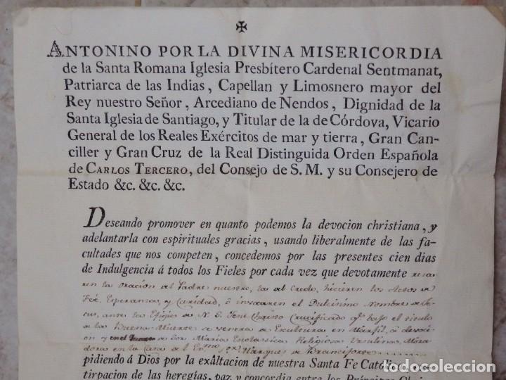 Antigüedades: Indulgencia. Año 1802. Por Antonio, Cardenal de Sentmanat, Patriarca de las Idias. Mide 30 x 21 cm. - Foto 2 - 269166053