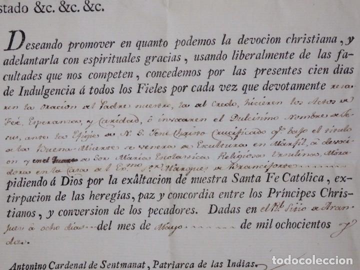 Antigüedades: Indulgencia. Año 1802. Por Antonio, Cardenal de Sentmanat, Patriarca de las Idias. Mide 30 x 21 cm. - Foto 3 - 269166053