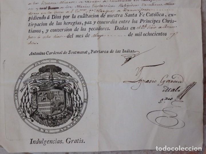 Antigüedades: Indulgencia. Año 1802. Por Antonio, Cardenal de Sentmanat, Patriarca de las Idias. Mide 30 x 21 cm. - Foto 7 - 269166053