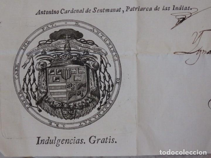 Antigüedades: Indulgencia. Año 1802. Por Antonio, Cardenal de Sentmanat, Patriarca de las Idias. Mide 30 x 21 cm. - Foto 8 - 269166053