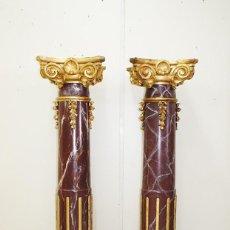 Antigüedades: PAREJA DE COLUMNAS ANTIGUAS DE MADERA. Lote 269188434
