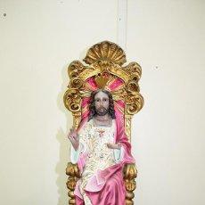 Antigüedades: FIGURA SAGRADO CORAZÓN DE JESÚS SENTADO EN EL TRONO. Lote 269188548