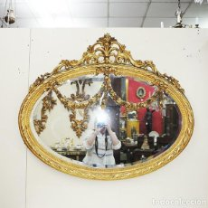 Antigüedades: ESPEJO ANTIGUO DE MADERA TALLADA Y ORO, ESTILO ISABELINO. Lote 269189358