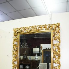 Antigüedades: ESPEJO ANTIGUO CON MARCO TALLADO ORO. Lote 269189938