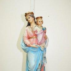Antigüedades: FIGURA RELIGIOSA OLOT VIRGEN DEL ROSARIO CON NIÑO. Lote 269191738