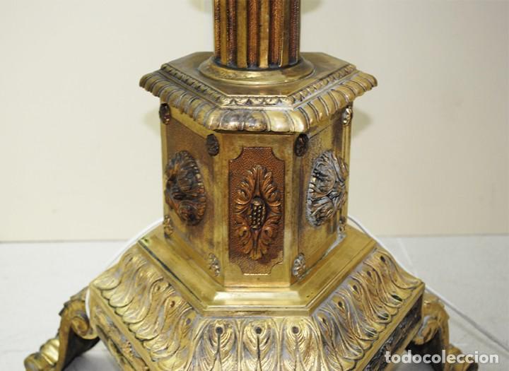 Antigüedades: LÁMPARA ANTIGUA DE PIE CANDELABRO DE BRONCE DORADO - Foto 9 - 269194563