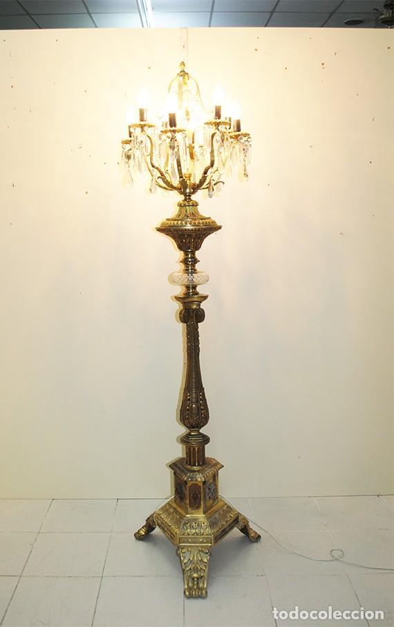 Antigüedades: LÁMPARA ANTIGUA DE PIE CANDELABRO DE BRONCE DORADO - Foto 10 - 269194563