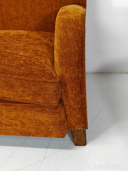 Antigüedades: Decorativo Tresillo - Sofá y Sillones - Tapicería Perfecta - Vintage - Años 50 - Foto 5 - 269220523