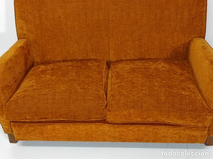 Antigüedades: Decorativo Tresillo - Sofá y Sillones - Tapicería Perfecta - Vintage - Años 50 - Foto 6 - 269220523