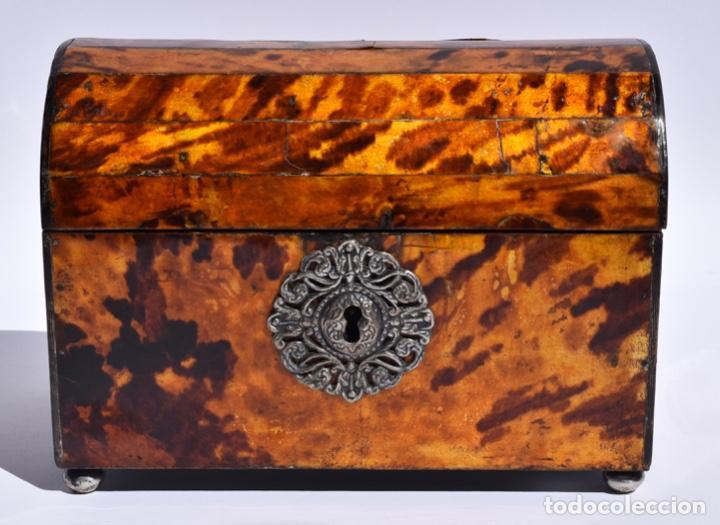 ARQUETA COLONIAL DE CAREY CON CERTIFICADO CITES.MEXICO SIGLO XVIII (Antigüedades - Muebles Antiguos - Baúles Antiguos)