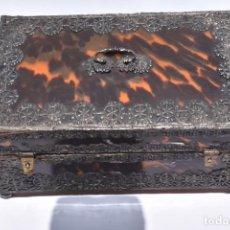 Antigüedades: ARQUETA COLONIAL DE CAREY CON APLICACIONES DE PLATA .MEXICO SIGLO XVIII. Lote 269329083