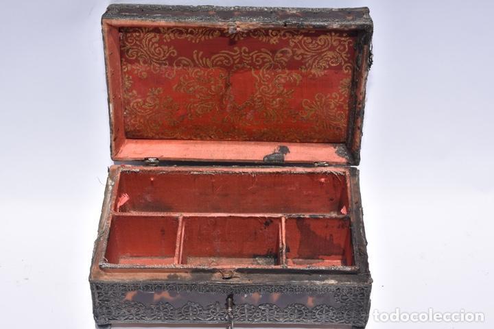 Antigüedades: Arqueta colonial de carey con aplicaciones de plata .Mexico siglo XVIII - Foto 2 - 269329083
