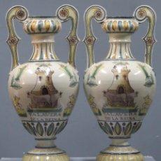 Antigüedades: PAREJA DE JARRONES DE CERAMICA. TALAVERA. HACIA 1900. GRAN TAMAÑO. Lote 269397688
